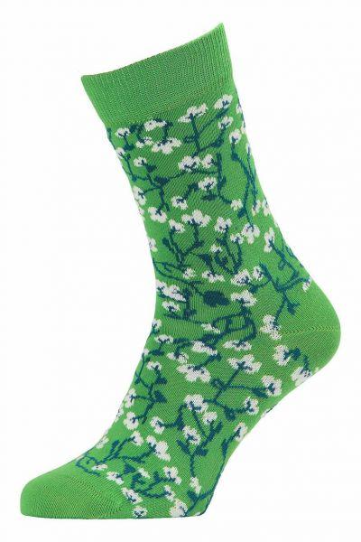 Tranquillo geringelte Stricksocken Fairtrade Bio-Baumwolle Hellgrün