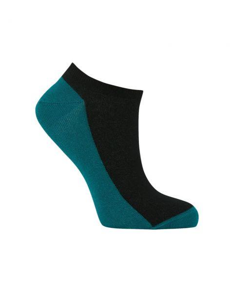 Komodo kurze Sneaker Socken Schwarz-Petrol Fairtrade Bio-Baumwolle