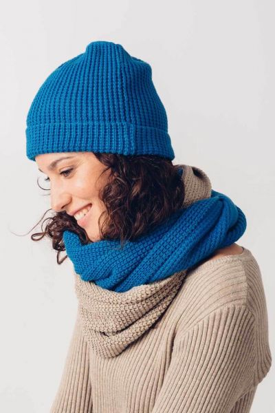 SKFK Mütze Strickmütze Palol Blau biobaumwolle fairtrade