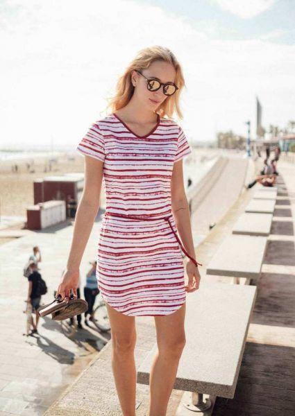 Nachhaltige Mode Sommer Kleid Rot gestreift