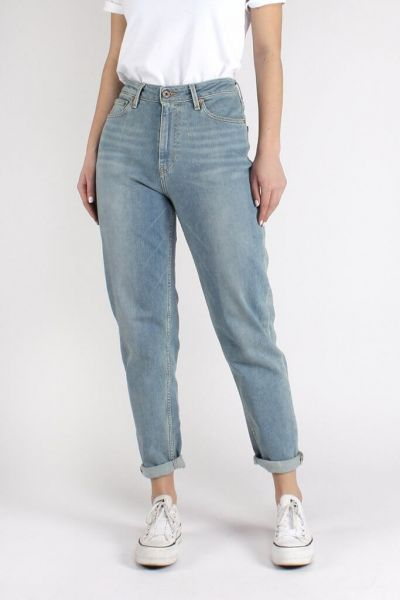 Kuyichi Nora Mom Jeans Loose Tapered Faded Blue Denim